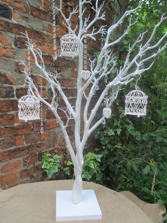 white tree decorations for